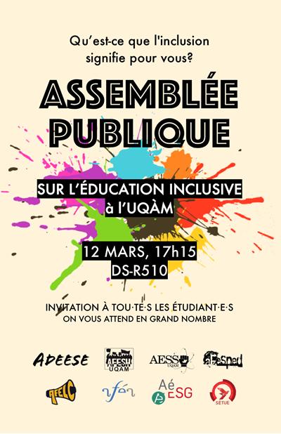 Assemblée publique sur l'éducation inclusive à l'UQAM